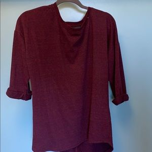 Maroon casual top with rolled sleeves